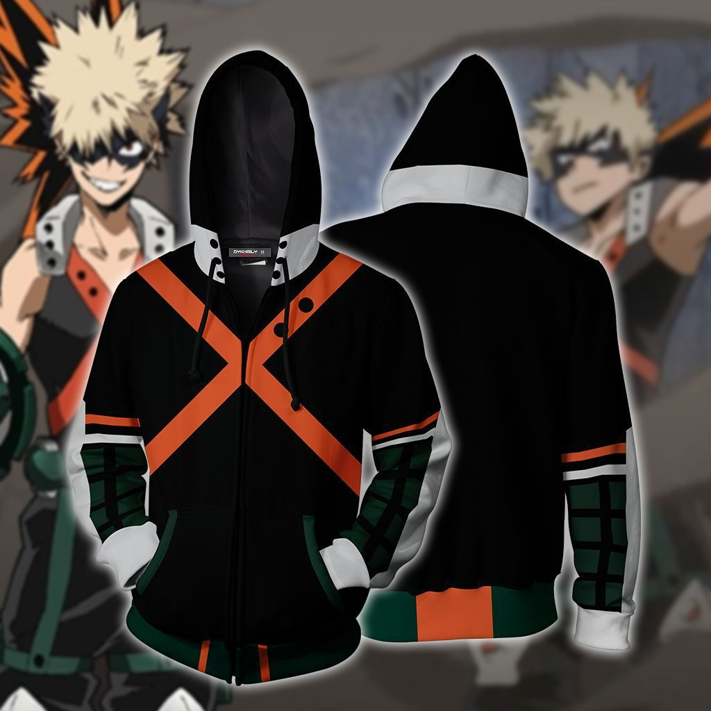 Men 3D Printed My hero academia Zipper Hoodie Black Hoodie