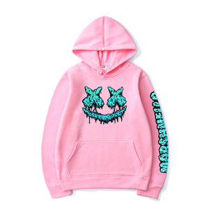 Marshmallow Hoodie Smiley Face Letter Printed Casual Hoodies
