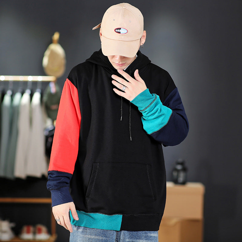 Men Stitching contrast color loose hooded casual sweater
