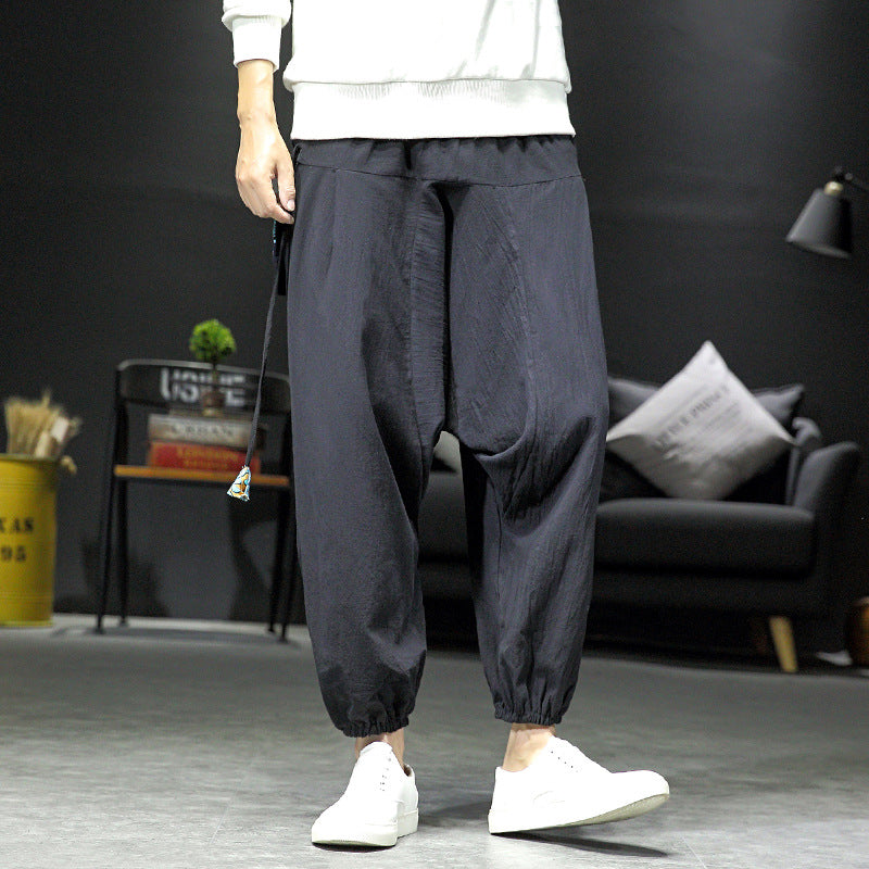Men Irregular splicing floral cotton and linen trousers