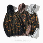 Men hooded fake two-piece camouflage Hoodies