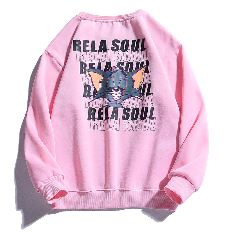 Men Real Soul Cat Printed Hoodies