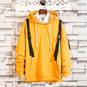 Men Hip Hop Solid Long Sleeve Pullover Ribbons Hoodies