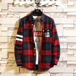 Men new personality letter printing plaid shirt