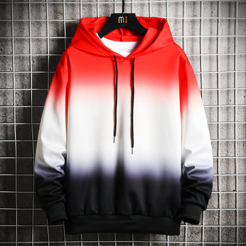 Men Gradient color Long Sleeve Hoodies