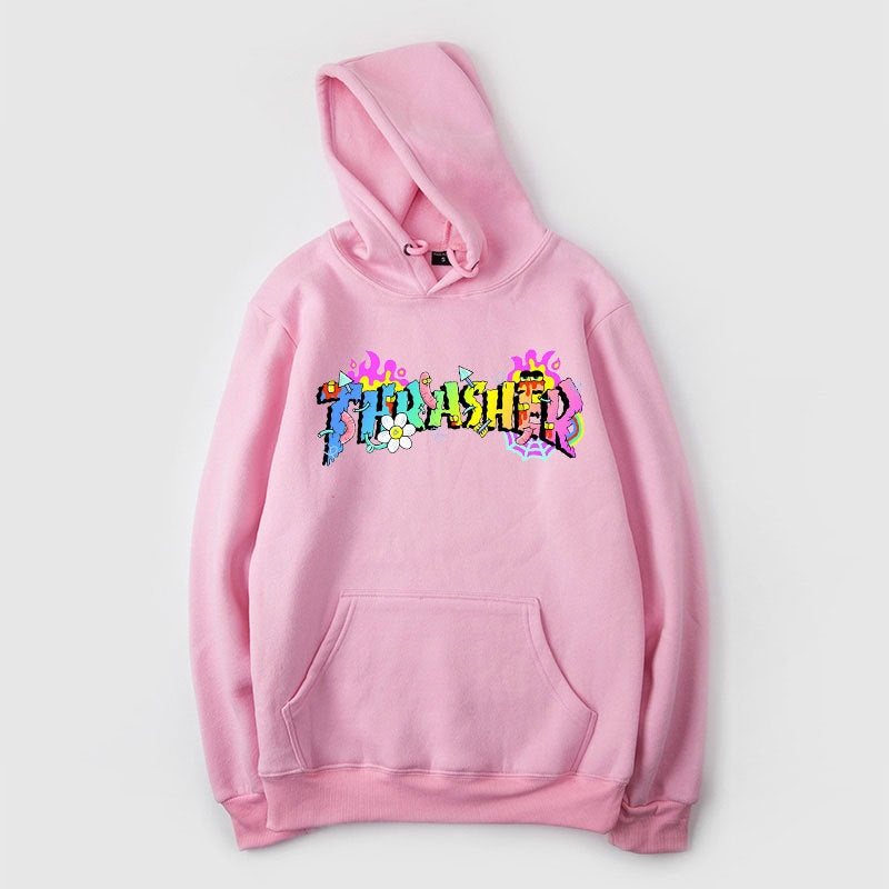 Unisex Thrasher Magazine Thin Hoodie Fashion Flame Graphic Sweatshirt Pullover with Pocket