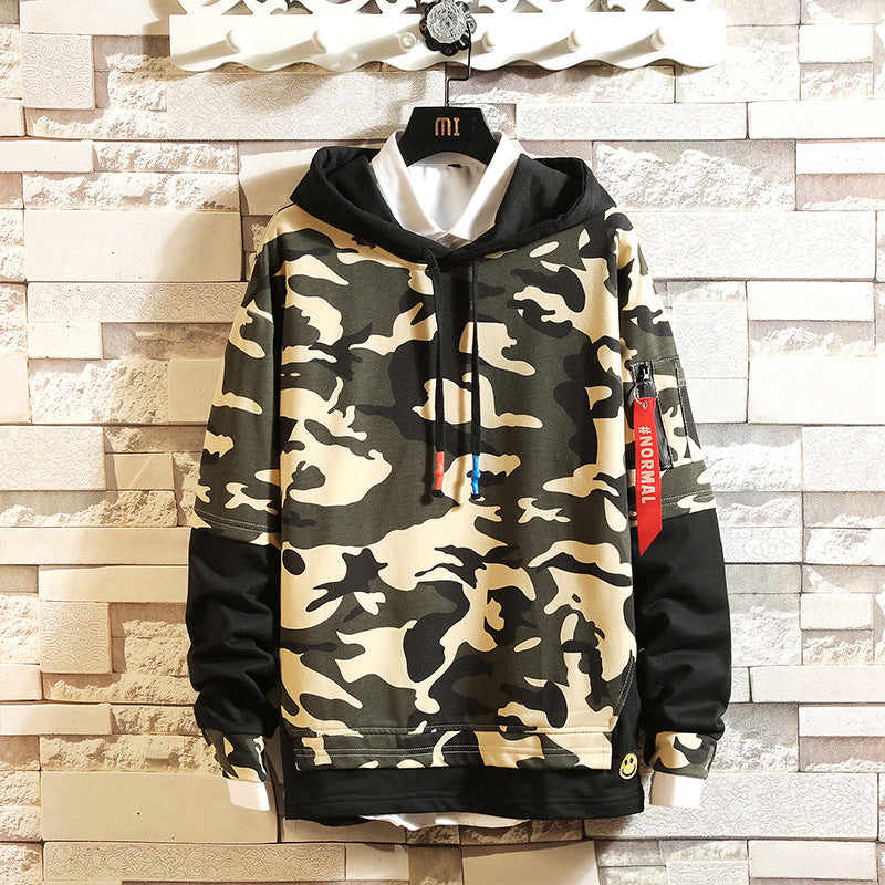 Loose fake two-piece sweater men's hooded camouflage top