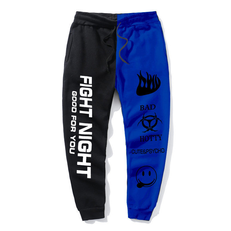 Fight Night Joggers Men Fight Night Printed Pants Color-block Pant
