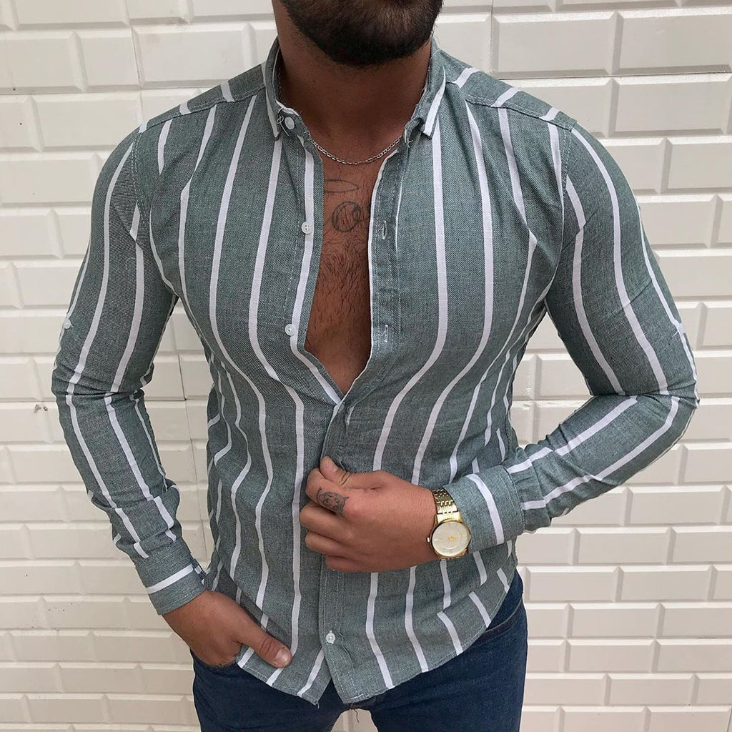 Men's Striped Printed Lapel Shirt