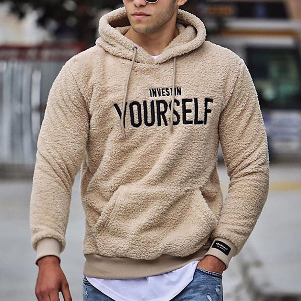 Mens Casual White Letters Printed Hooded Sweatshirt Invest In Yourself