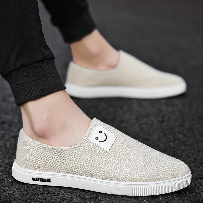 2019 spring men's one-legged smiley fashion comfortable casual lazy shoes - freakichic