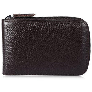 Practical Leather Man Wallet with Zipper Closure