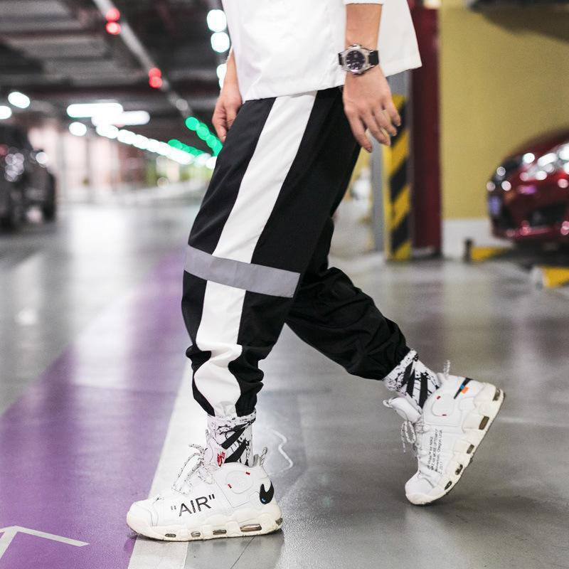 Mens Reflective Joggers Pants Male Streetwear