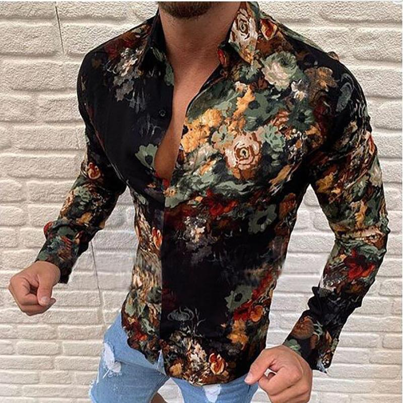 Men'S Single-Breasted Printed Shirt