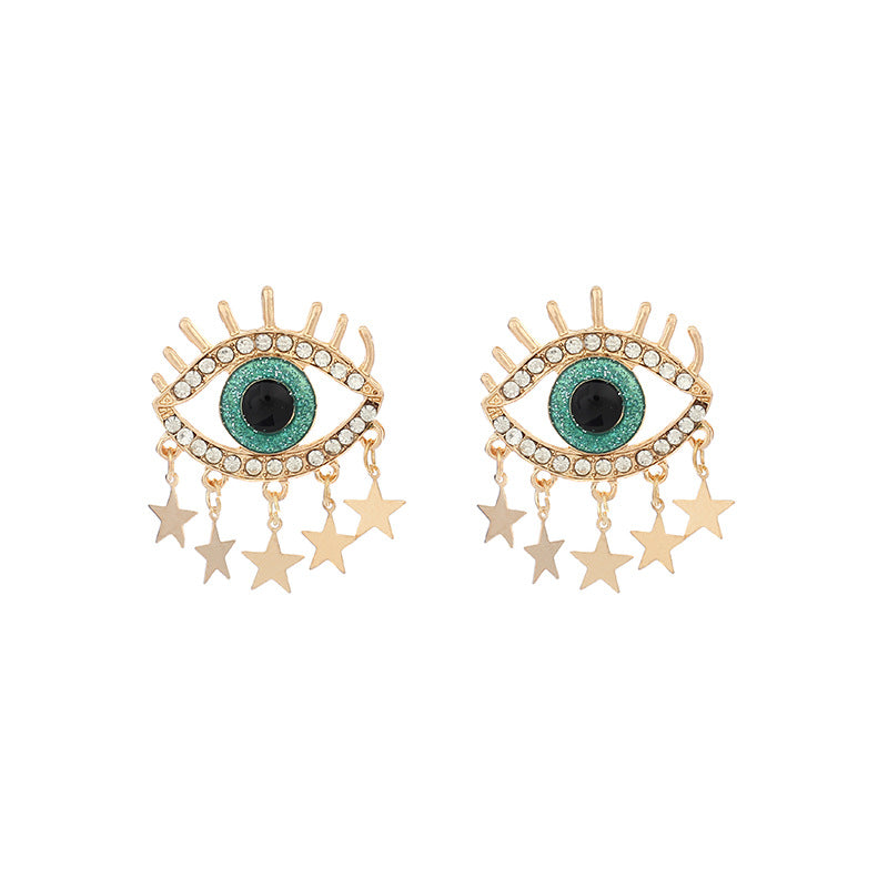 Evil Eye Hoop Pierced Earrings Star