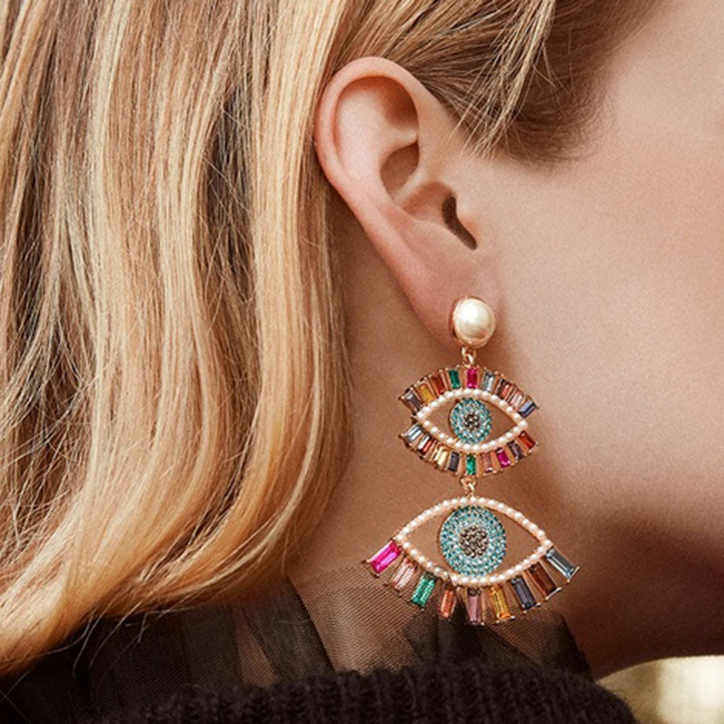 Rainbow Evil eye Earings