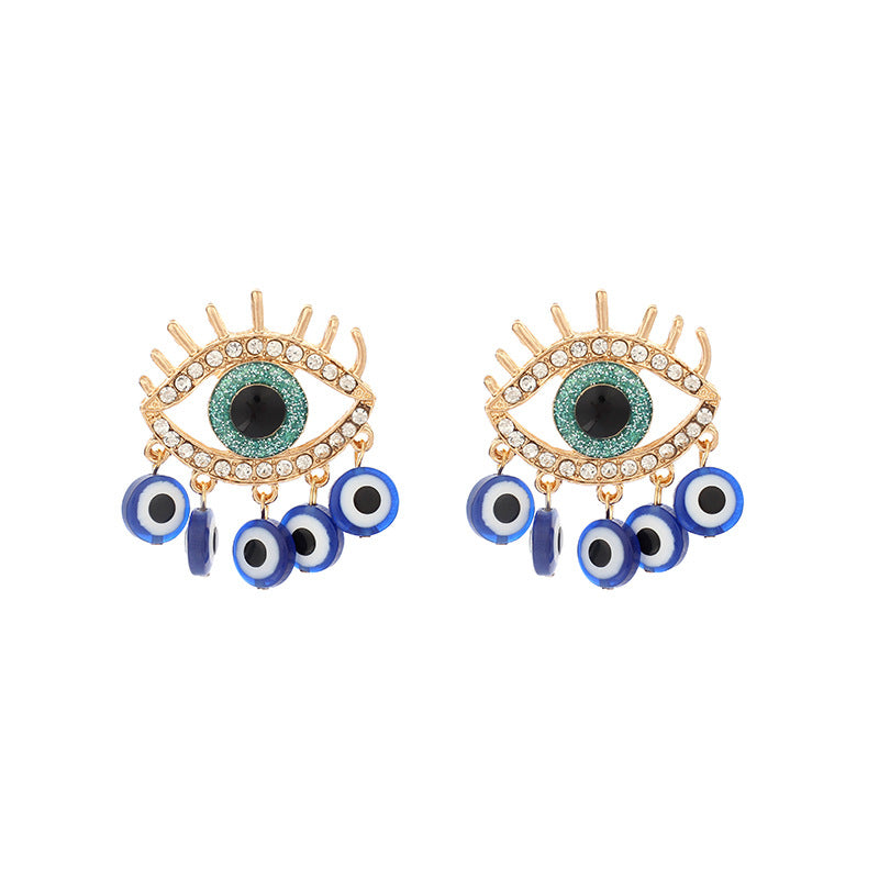 Evil Eye Hoop Pierced Earrings