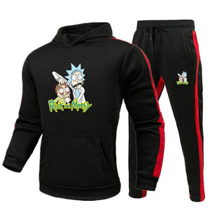 Rick And Morty Set Men Long Sleeve Hoodie And Black Sweatpant