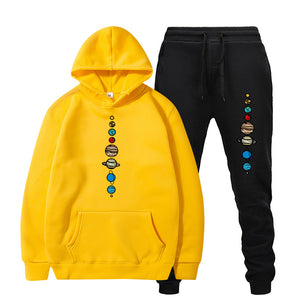 Men Tracksuit Planets Colour Set Sweatshirts And Black Pant