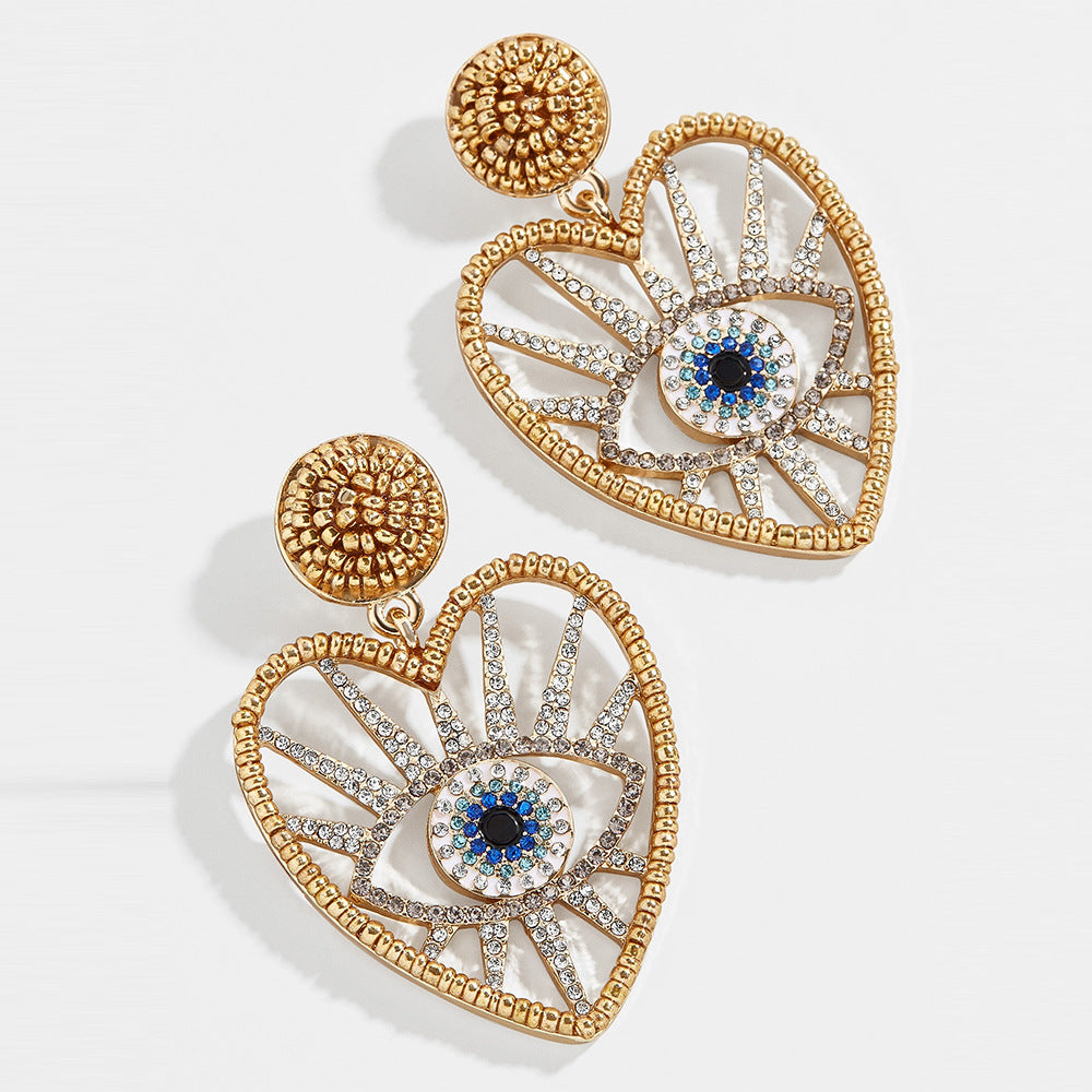 Evil eye Heart Earings