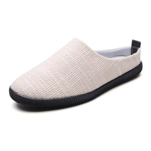 2019 summer breathable linen half drag casual lazy shoes - freakichic