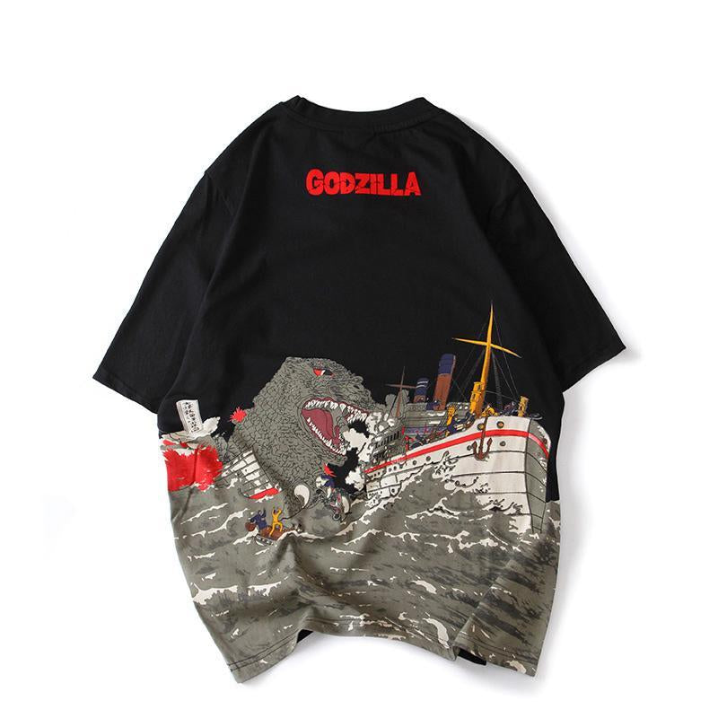 Japanese trend Godzilla print male loose large size T-shirt