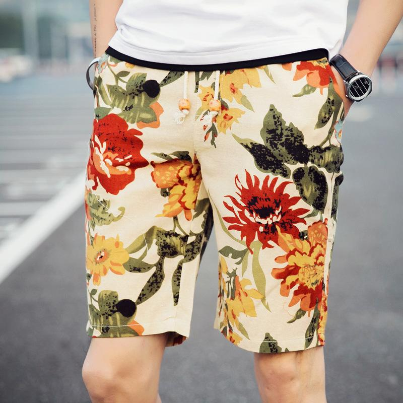 Men's linen large size flower shorts beach pants