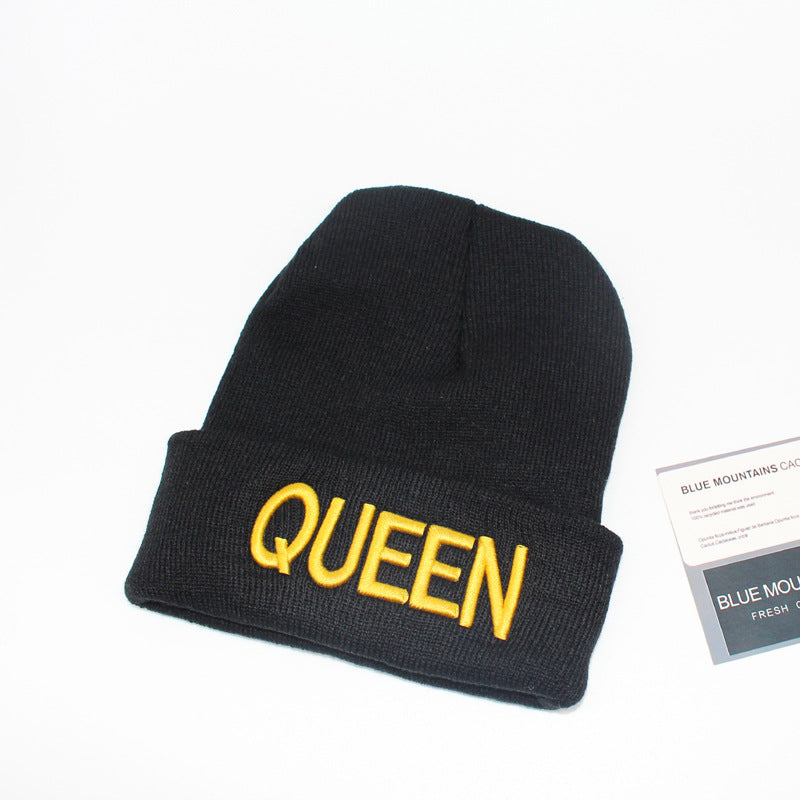 Queen Beanie Gold Letter Printed