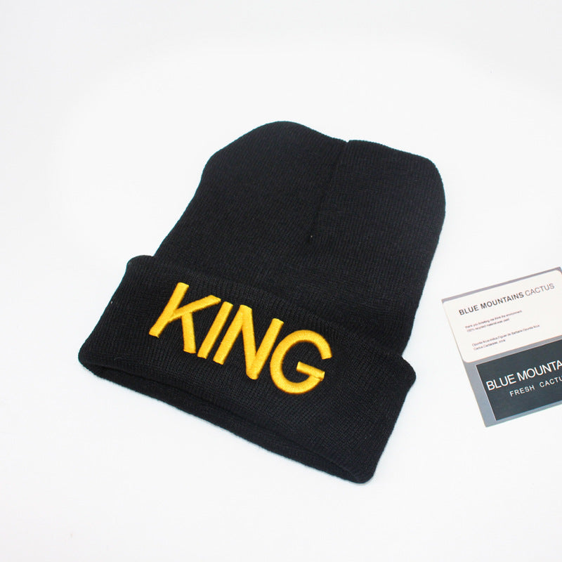 King Beanie Gold Letter Printed
