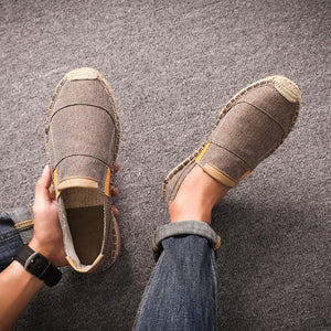 Men linen weed canvas shoes
