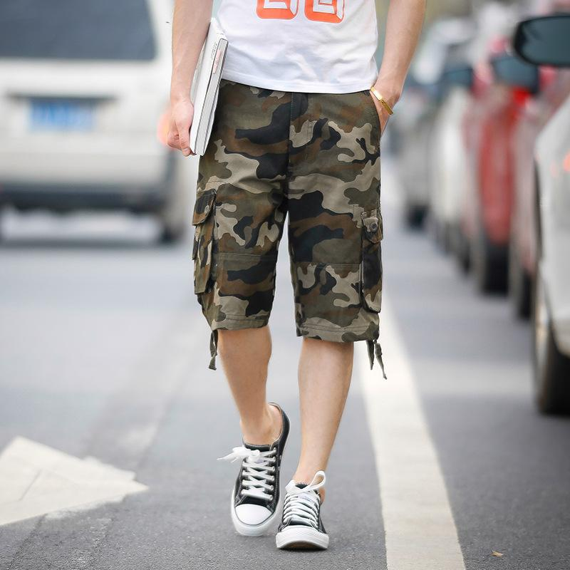 Casual men's multi-pocket pants overalls camouflage shorts - thistylish