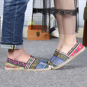 2019 summer original embroidery casual linen men's shoes