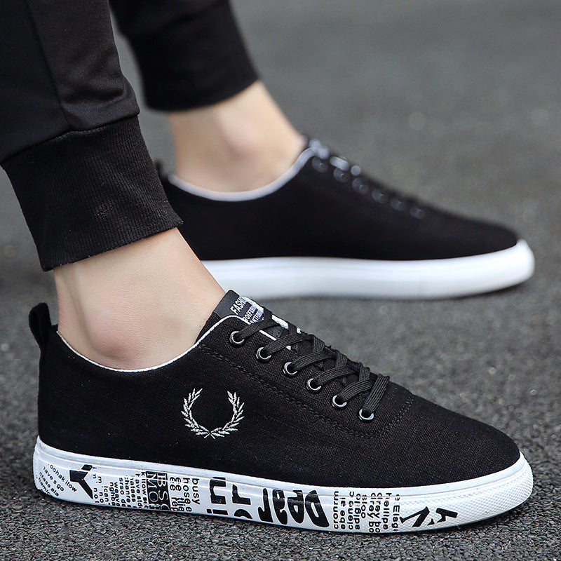 Men Sneakers Low Top Linen Black shoes