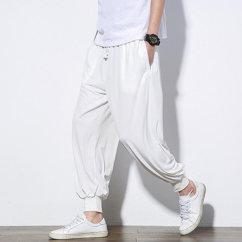 Chinese Style Mens Loose Casual Pants Solid Color - thistylish