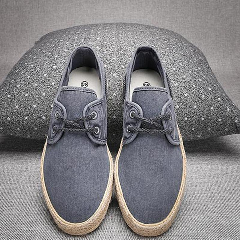 Summer new canvas shoes men's low-cut lace-up shoes