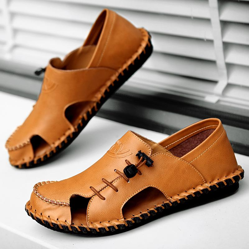 New men's sandals leather beach shoes casual shoes