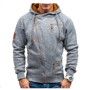 Mens Casual Zipper Up Design Sweatshirts Drawstring Hooded Cotton Hoodies