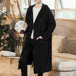 Men Chinese Style Long Casual Hooded Trench cardigan
