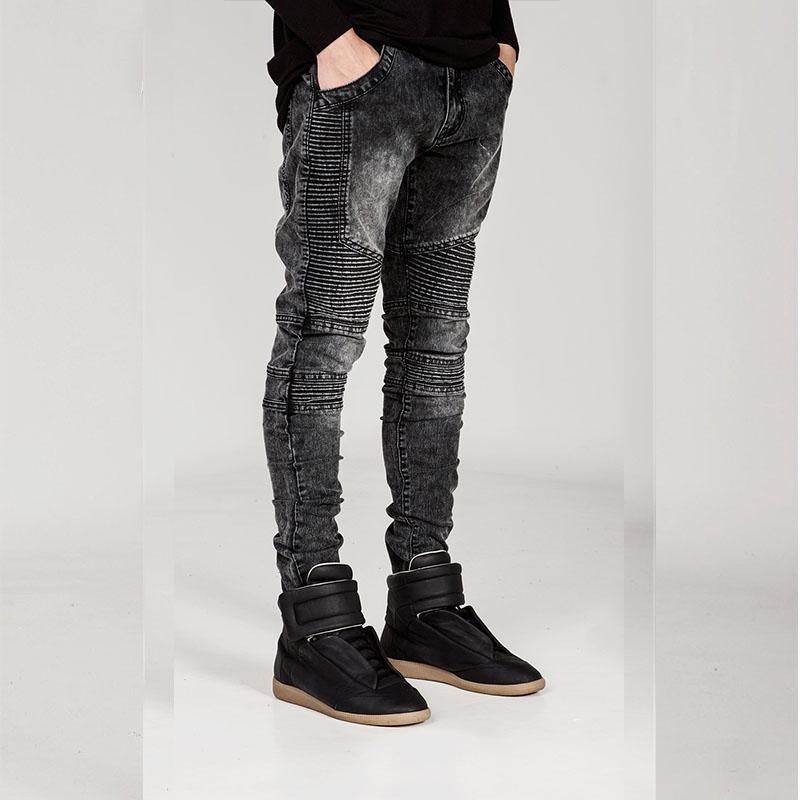 Men's Personality Pleated Jeans