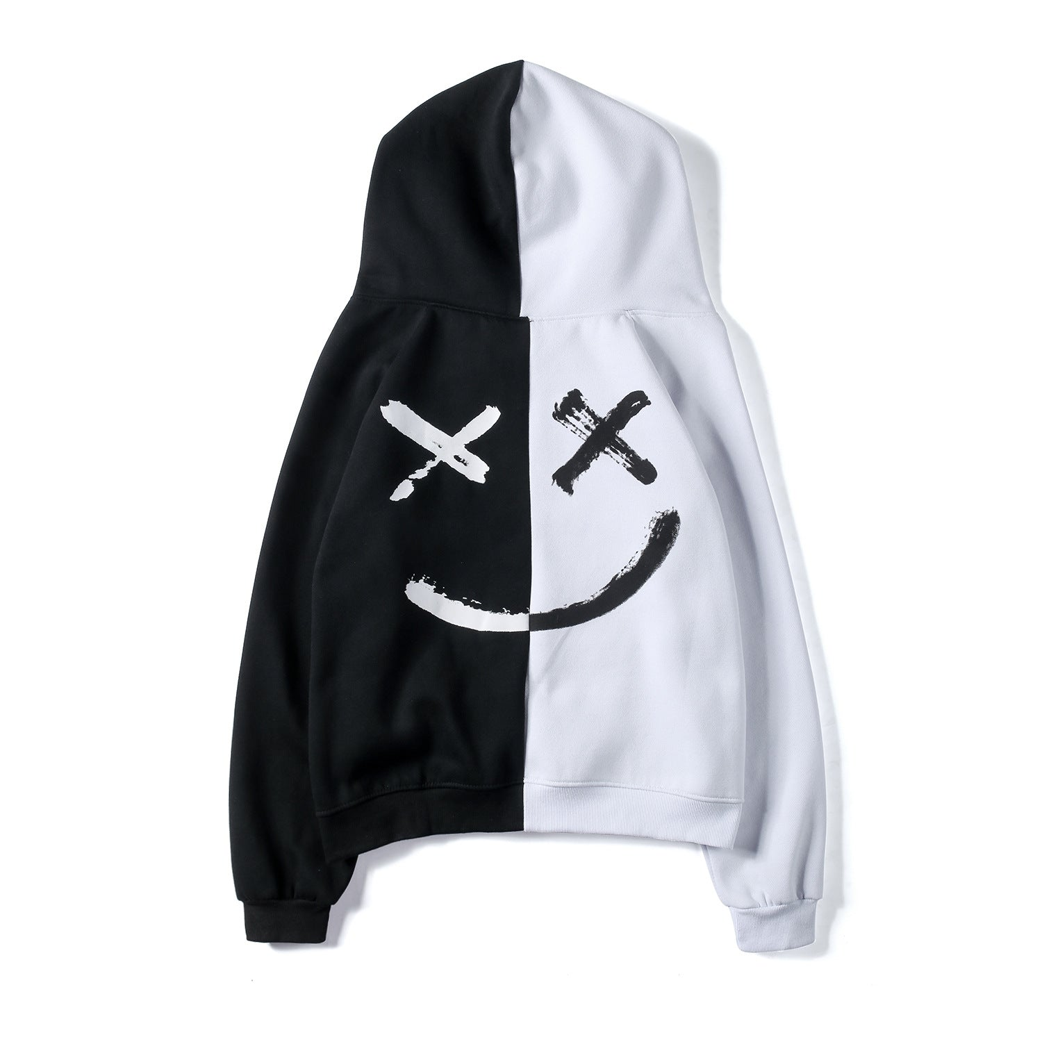 Men's Casual Smile Face Hoodie Contrast Color Letter Hooded Sweatshirt
