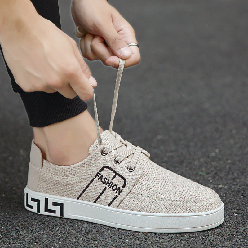 men fasion prined canvas linen shoes