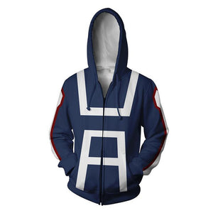 Men 3D Printed My hero academia Zipper Hoodie Blue Hoodie