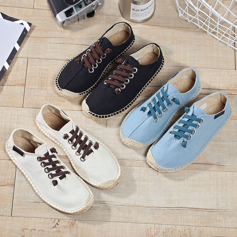 Men Linen Straw Woven Shoes