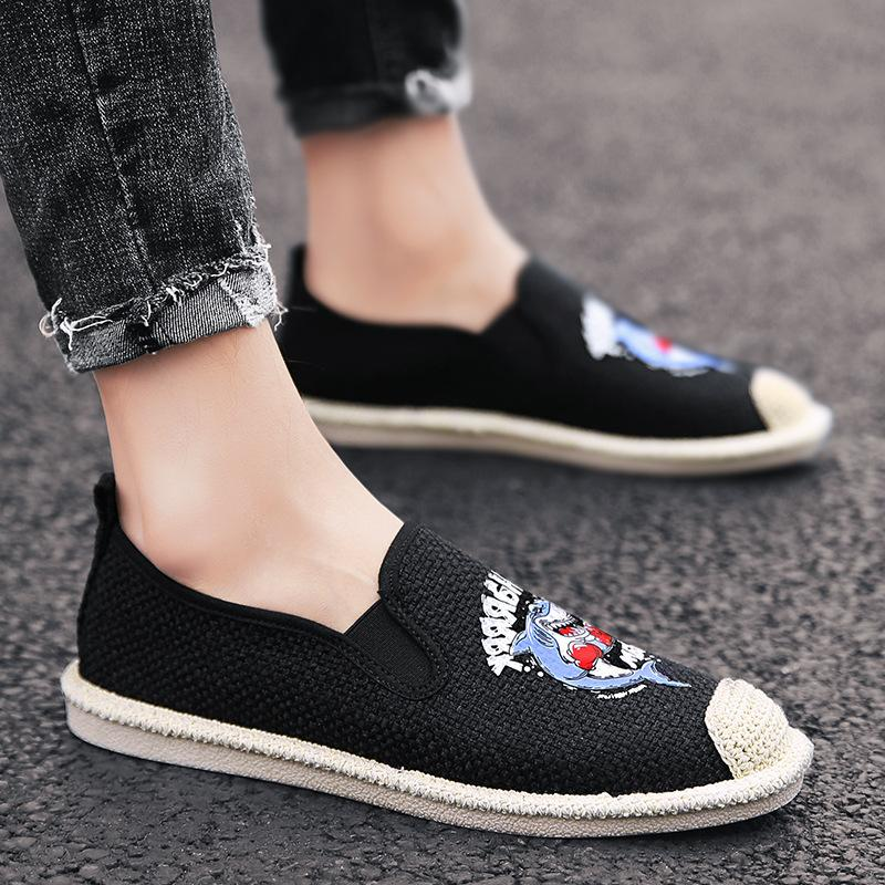 Men Sharp printed flax shoes