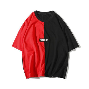 New Color stitching Mens Casual Summer Lovers T shirt