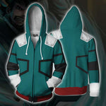 Men 3D Printed My hero academia Zipper Hoodie Green Hoodie