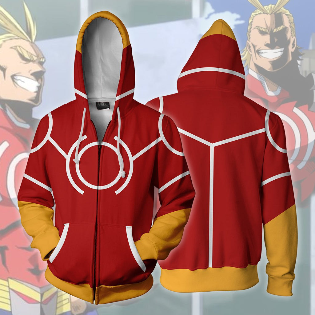 Men 3D Printed My hero academia Zipper Hoodie Red Hoodie