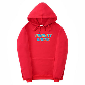 Light Blue Virginity-Rocks Hoodie Athletic Hoodies Pullover
