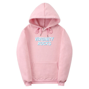 White Virginity-Rocks Hoodie Athletic Hoodies Pullover