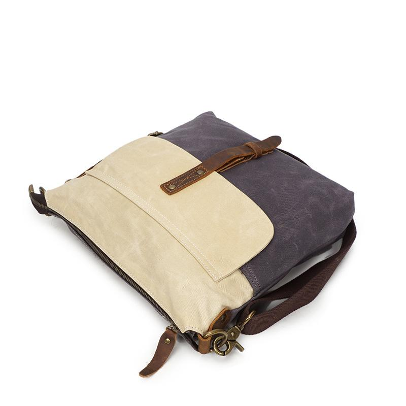 Men's source oil wax canvas bag retro with leather waterproof Messenger bag